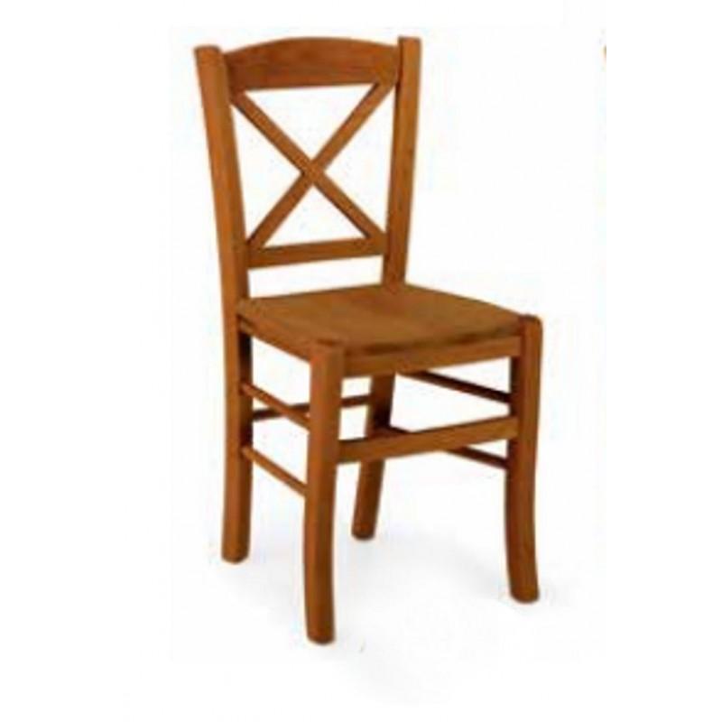 Sedia in Legno Noce con seduta in Legno e Schienale a Croce art 760