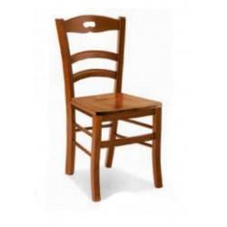 Sedia in Legno Noce con Seduta in Legno, schienale a onde Testata a Cappello con Foro  Art 588