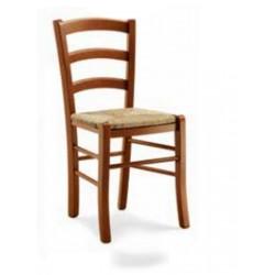 Sedia in legno colore Noce con seduta in paglia schienale a Onde art 593