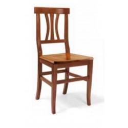 Sedia in Legno Colore Noce con Seduta in Legno Schienale a Doghe Curve Testata Dritta art 594