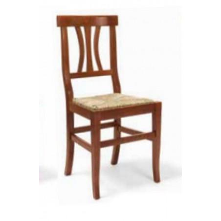 Sedia in Legno Noce con Seduta in Paglia Schienale a Doghe Curve Testata Dritta Art 595