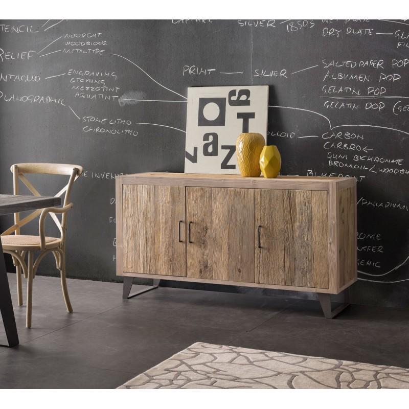 Scrivania in legno con 5 Cassetti e piano in Pelle cm 130x65