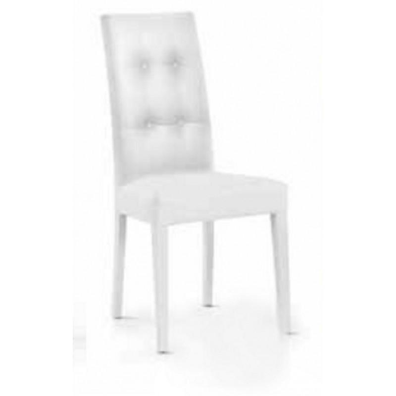 Sedia Imbottita Colore Bianco Schienale Alto con Bottoni Struttura in Legno  Art 678